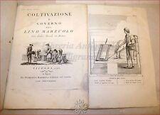 AGRONOMIA - Trecco G.B.: Coltivazione del LINO MARZUOLO 1792 Vicenza Tavole Rame