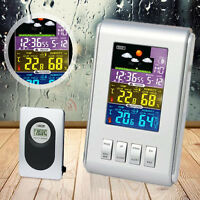 Wireless LCD Digital Thermometer Hygrometer Indoor Outdoor Weather Station Clock