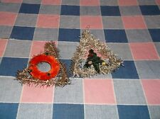 ksm. Two Vintage Christmas Ornaments Tinsel Chenille Pipe Cleaner 3 1/4 Inch H
