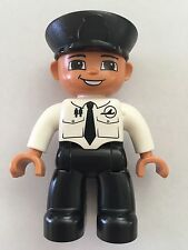*NEW* Lego DUPLO Male PILOT BLACK Legs WHITE Top AIRPLANE Logo & Tie BLACK Hat