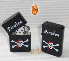 ACCENDINO a benzina Pirates Nero Opaco pirata osso v2 tempesta Accendino Nuovo