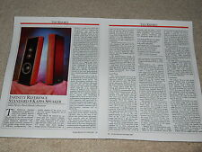 Infinity Reference Kappa 8 Speaker Review, 2 pg, 1987, Specs, Info