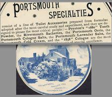 Preston 1880 Tooth Powder Cologne Lavender Salt Portsmouth NH Mansion Trade Card