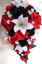 21 piece Package Wedding bouquet Bridal Silk flowers RED BLACK White LILY set