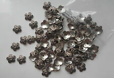 30 x Tibetan Silver Tone Flower Bead End Caps 10x4mm Findings - UK Seller C14