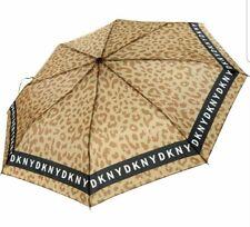 DKNY Designer Brown Leopard Print Logo Automatic Umbrella, new
