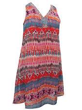 Jennifer Lauren Sleeveless Aztec print Swing Sun Dress RED Plus size Holidays
