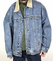 Vintage 90s Tommy Hilfiger Denim Jacket Size XXL 2XL Oversized Grunge Jean Flag