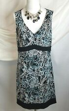 Ann taylor loft dress size 6 / small womens sleeveless v neck black wihite mint