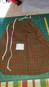 """Red & Green Plaid Gift Bag 15"""" By 14"""" Cotton Fabric Great For Gifts Hand made"""