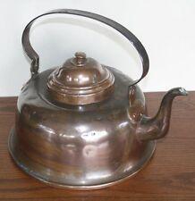 Large Antique Copper Gooseneck Tea Kettle. Great Patina. Scandinavian/European