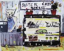 "Townsend TN  ""SISTER CATS BAKERY"" fun Folk Art cat print by Mike Creech 8X10"