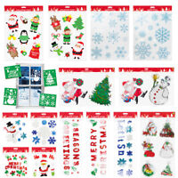 Christmas Xmas Window Glass Gel Stickers Decorations Plaque Stencil Santa Design
