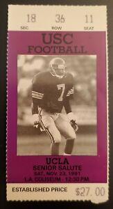 USC Trojans UCLA Bruins Football Ticket Stub 11/23 1991 Tommy Maddox J. Morton