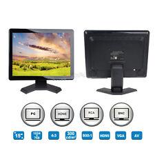 """15"""" TFT LCD HD 1024*768 Audio Video Monitor HDMI VGA AV BNC For CCTV DVD PC A01"""