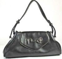 Butterfly Brand Black Simulated Leather Medium Shoulder Bag Handbag Purse