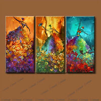 Abstract Hand-painted Oil Painting On Canvas Set(3PCS) Peacock Dance (No Frame)