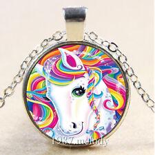 Photo Cabochon Glass Silver/Bronze/Black Chain Pendant Necklace Rainbow horse
