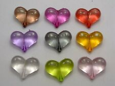 "25 Mixed Color Transparent Acrylic Puffy Heart Charm Beads 22X16mm(0.87""X0.63"")"