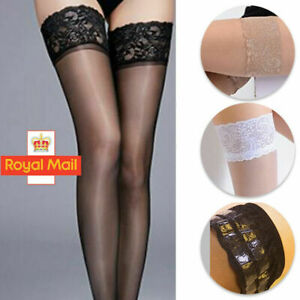 Lace Topped Thigh High Sheer Fishnet Stockings Ladies Sexy Women Hold Knee Socks