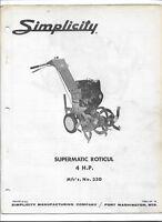 Original Simplicity 330 Supermatic Roticul 4hp tiller Owners Manual Parts List