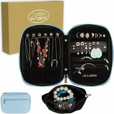 Lily & Drew Travel Jewelry Storage Carrying Case Organizer in Gift Box [Blue]