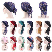 Women's Sleep Cap Hair Bonnet Cancer Hat Head Cover Satin Turban Wrap Headscarf
