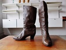 True Vintage Damen Stiefel Gr. 38 Leder Braun UK 5  Boots Braun Made in Italy