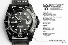 Hyakuichi 101 Watch Black Leather Band 200m Scuba Divers Quartz Movement Japan