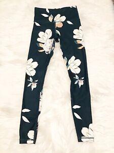 ATHLETA Womens Size XXS Dark Green Floral Elation Leggings