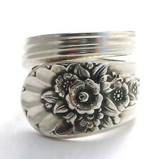 Vintage 925 Silver Lotus Flower Wedding Party Jewelry Open Adjustable Size Ring