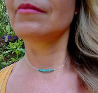 DESIGNER STERLING SILVER TURQUOISE NECKLACE CHOKER TINY BEADED BAR JEWELRY GIFT