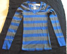 Women's AEROPOSTALE V-Neck Sweater Size M - NWT Blue & Dark Grey