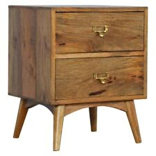 Modern Contemporary Stylish Handmade Solid Wood Oak Style 2 Drawer Bedside Table