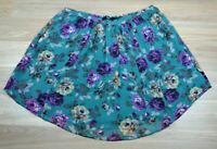 SPORTSGIRL Teal & Purple Floral Short Mini Flowy Casual Skirt + Pockets - Size 8