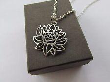 Unusual Tibetan Silvertone Pretty Lotus Flower Pendant - Chain Necklace - Gift