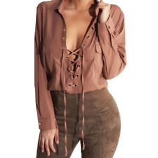 Fashion Womens Lace-up Long Sleeve Shirt Casual Blouse Loose Sexy Tops T Shirt