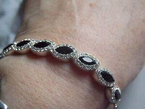 Glam Sparkly Silver Tone & Diamante Stretchy Evening Bracelet