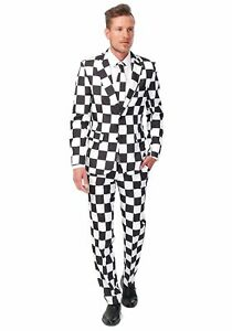 Suitmeister Checkered Business Suit Tie Adult Jacket Pants Black White SM-XL