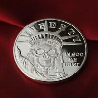 Statue of Liberty Skull design, 1 Troy oz .999 Solid Fine Silver Round. NEW!