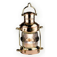 "Anchor Oil Lamp Brass & Copper Lantern 12"" Hanging Camp Light Nautical Decor New"