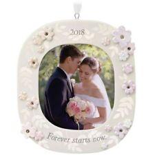 Hallmark 2018 Forever Starts Now Wedding Porcelain Photo Ornament