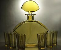 Exclusive Rare Art Deco Bohemian Hand Faceted Honey Glass Decanter/Carafe Set