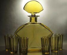Exclusive Rare Art Deco Bohemian Hand Faceted Honey Glass Decanter/Carafe Set