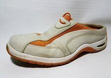 Cole Haan Womens 7.5 M Slip On Mules Sneakers Orange White Leather Shoes Casual