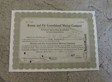 Boston and Ely Consolidated  Mining  Company    STOCK CERTIFICATE