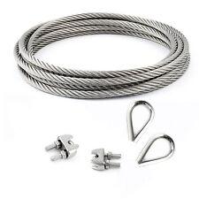SET 25m cable 8mm acier inox cordage torons: 7x7 + 2 serre-câbles étrie + 2 coss