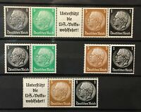 Germany nice selection of Hindenburg Head - Pairs - Strip with Label