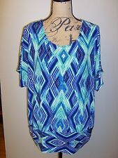 CHICO'S Travelers Banded Bottom Dolman Sort Sleeves Top Size 3 Multi NWT $89
