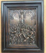"Antique Very Detailed Relief Bronze Plaque Jesus Christ 7""x6"""
